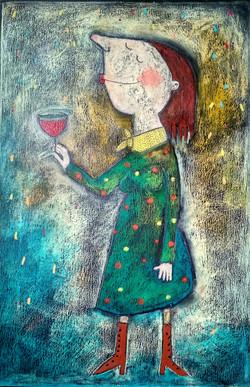 Dívka s vínem II