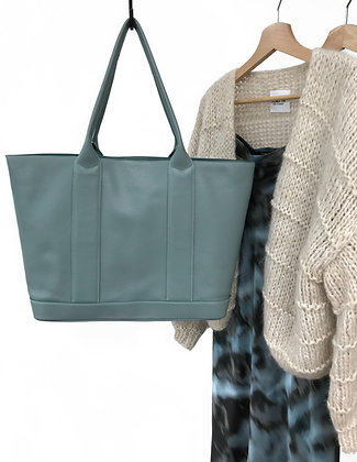 Spacious tote in beautiful aqua-hued leather