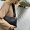 Thumbnail: Black Leather Shoulder bag with 5 compartments