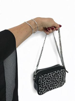 Small leather camera bag with animal print