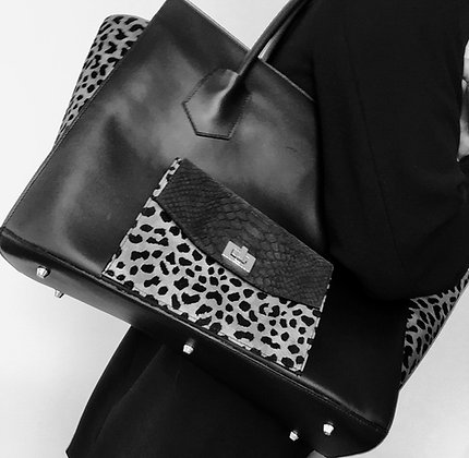 Leather calfskin tote with leopard printed suede