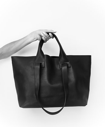 Oversized black leather tote
