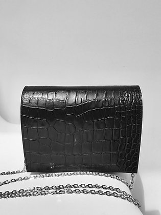 Mini croc-effect leather shoulder bag