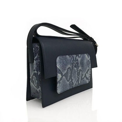 Shoulder bag in midnight blue and snake embossed leather