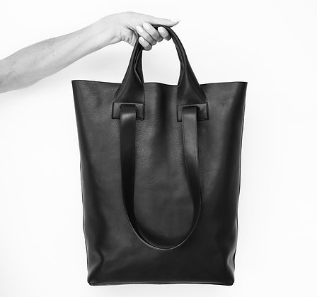 Spacious leather tote