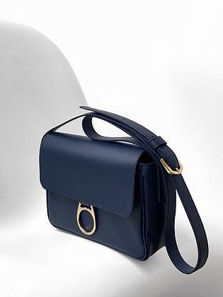 Leather Shoulder bag in midnight blue