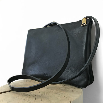 Black Leather Shoulder bag with 5 compartments