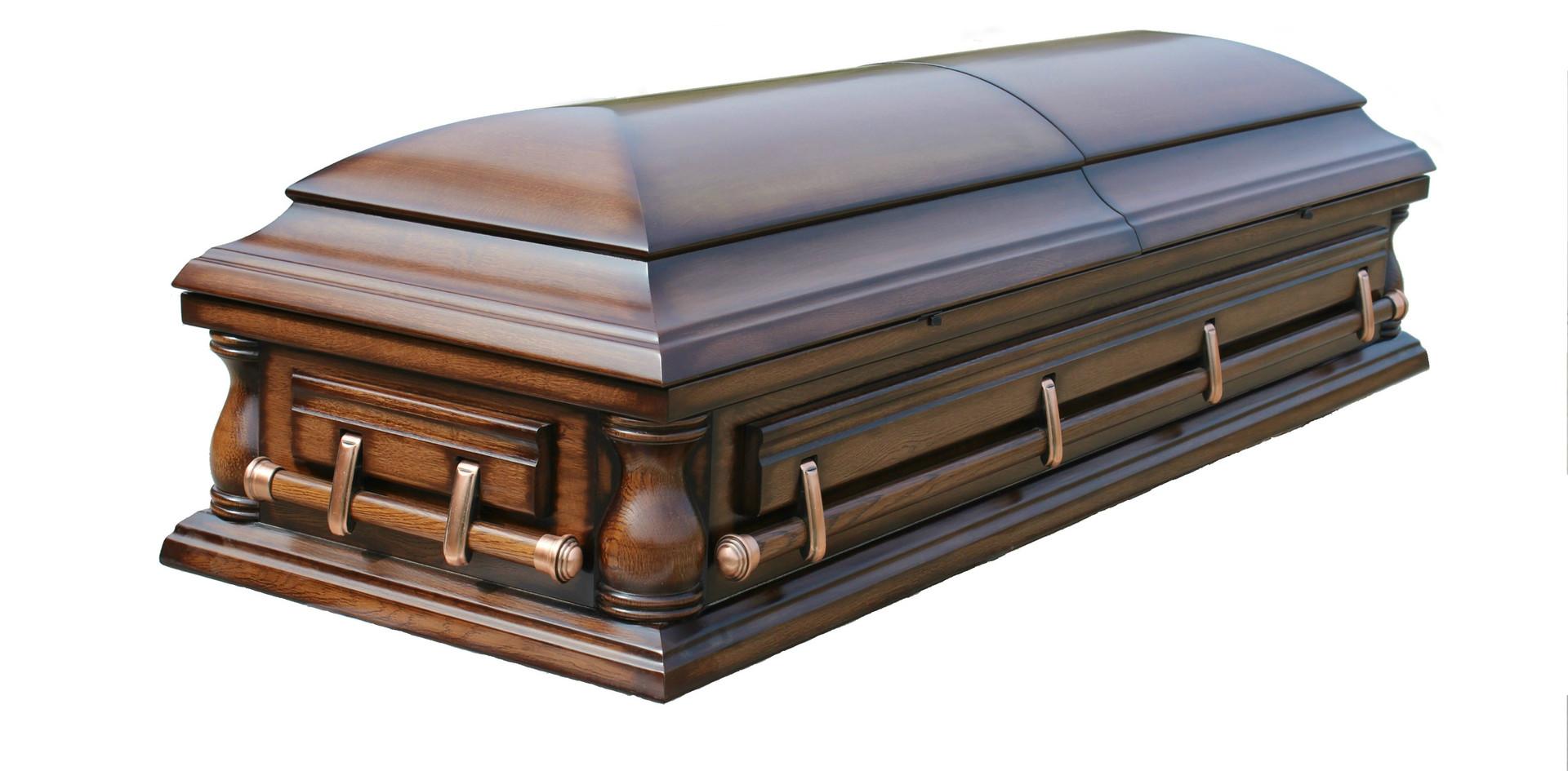 """Гроб """"Сенатор"""" патина  с балясинами"""