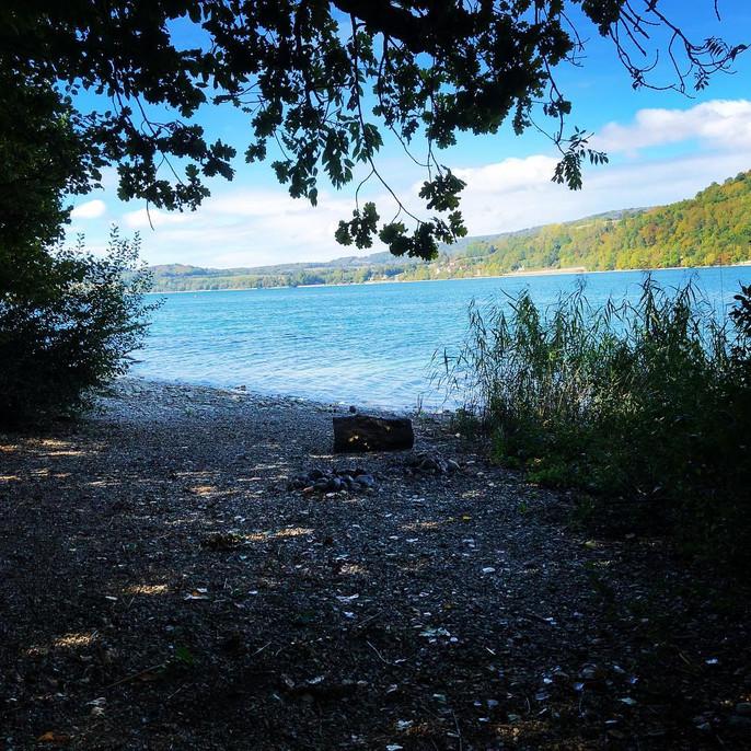 Plage sauvage du Lac de Paladru accessible au kayak ou stand up paddle