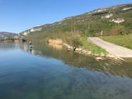 Mise à l'eau du Rhône à la sortie de la Balme