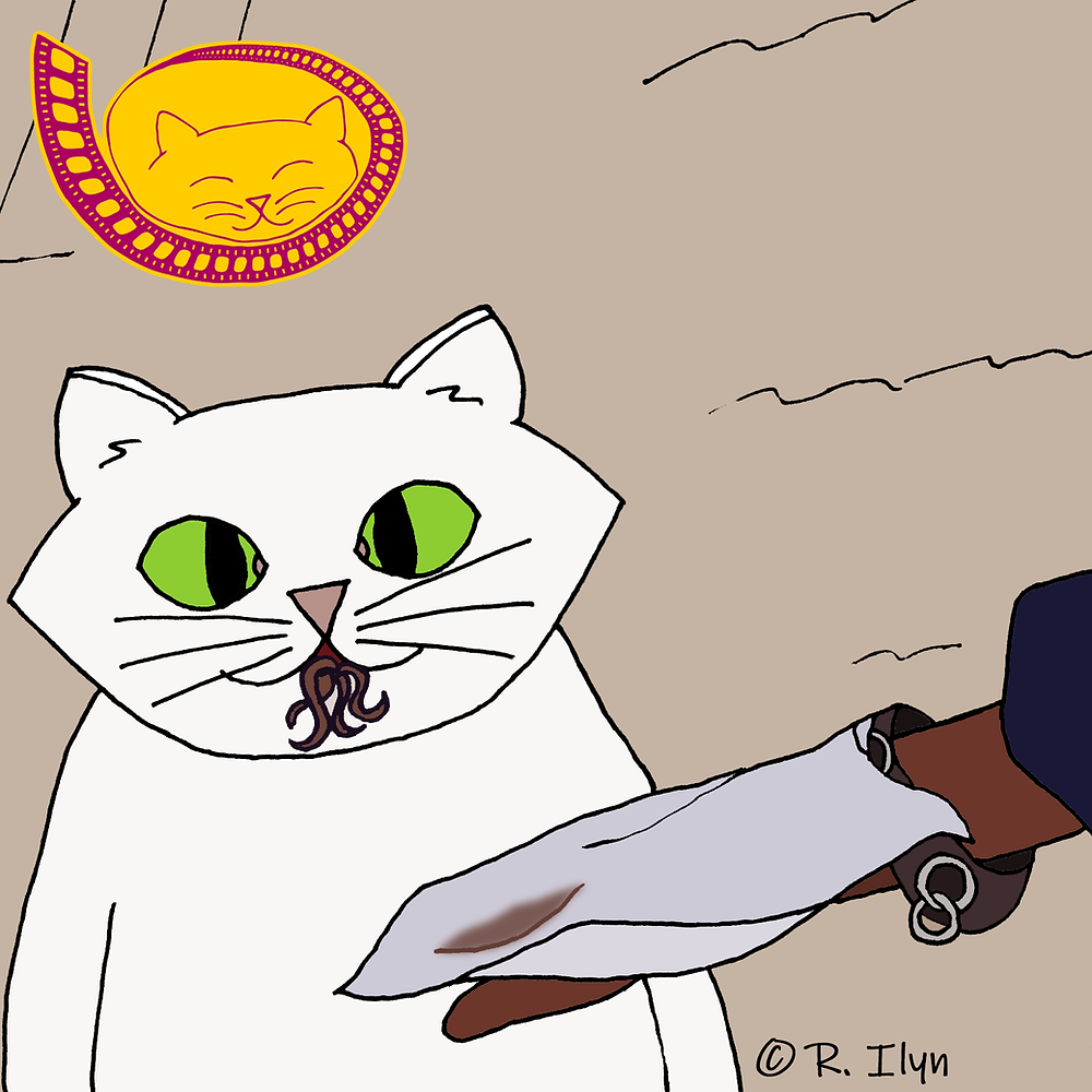 Illustration of white cat eating tentacles from Breakin' 2: Electric Boogaloo