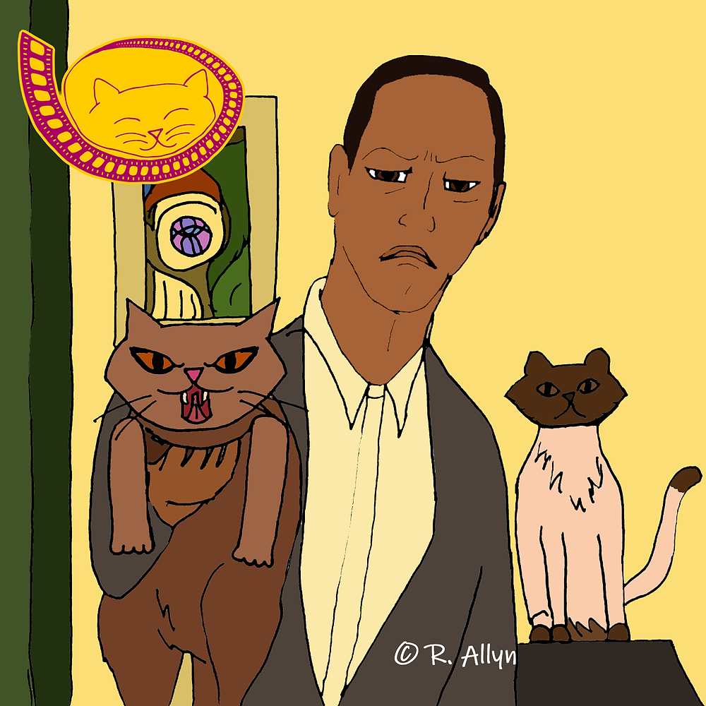 Illustration of cats & their cat-dad from the Disney movie Enchanted