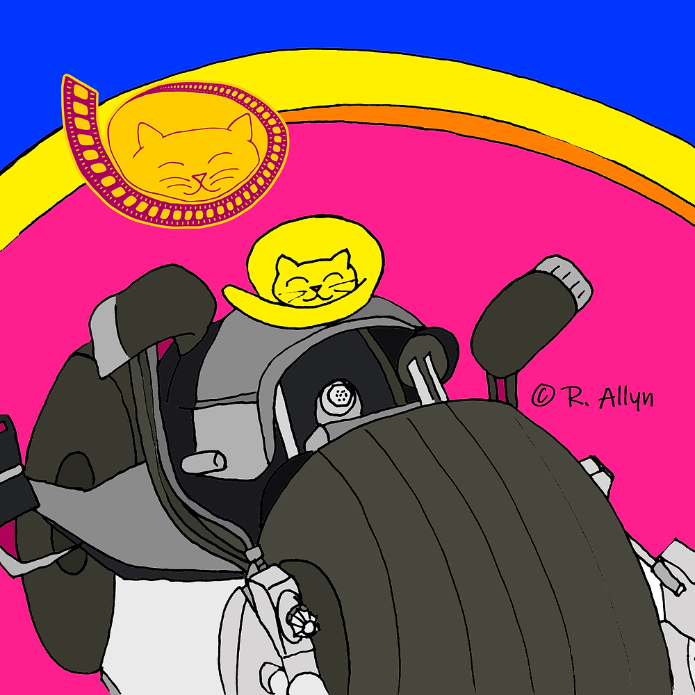 Illustration of a cat on the Dark Knight motorcycle