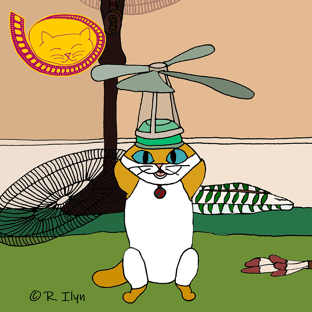 Illustration of cat Cape wearing a propeller hat in the movie Cats.