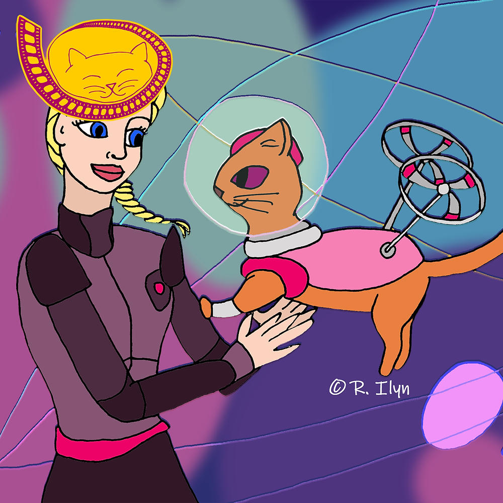 Illustration of Barbie and space-cat Pupcorn from Barbie: Star Light Adventure