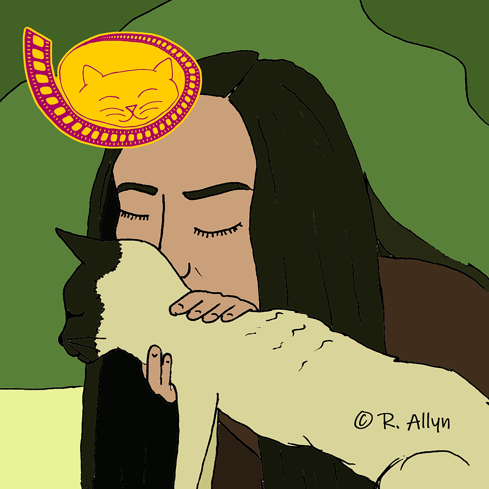 Illustration of Lena & a kitty from the movie Empire of Dirt