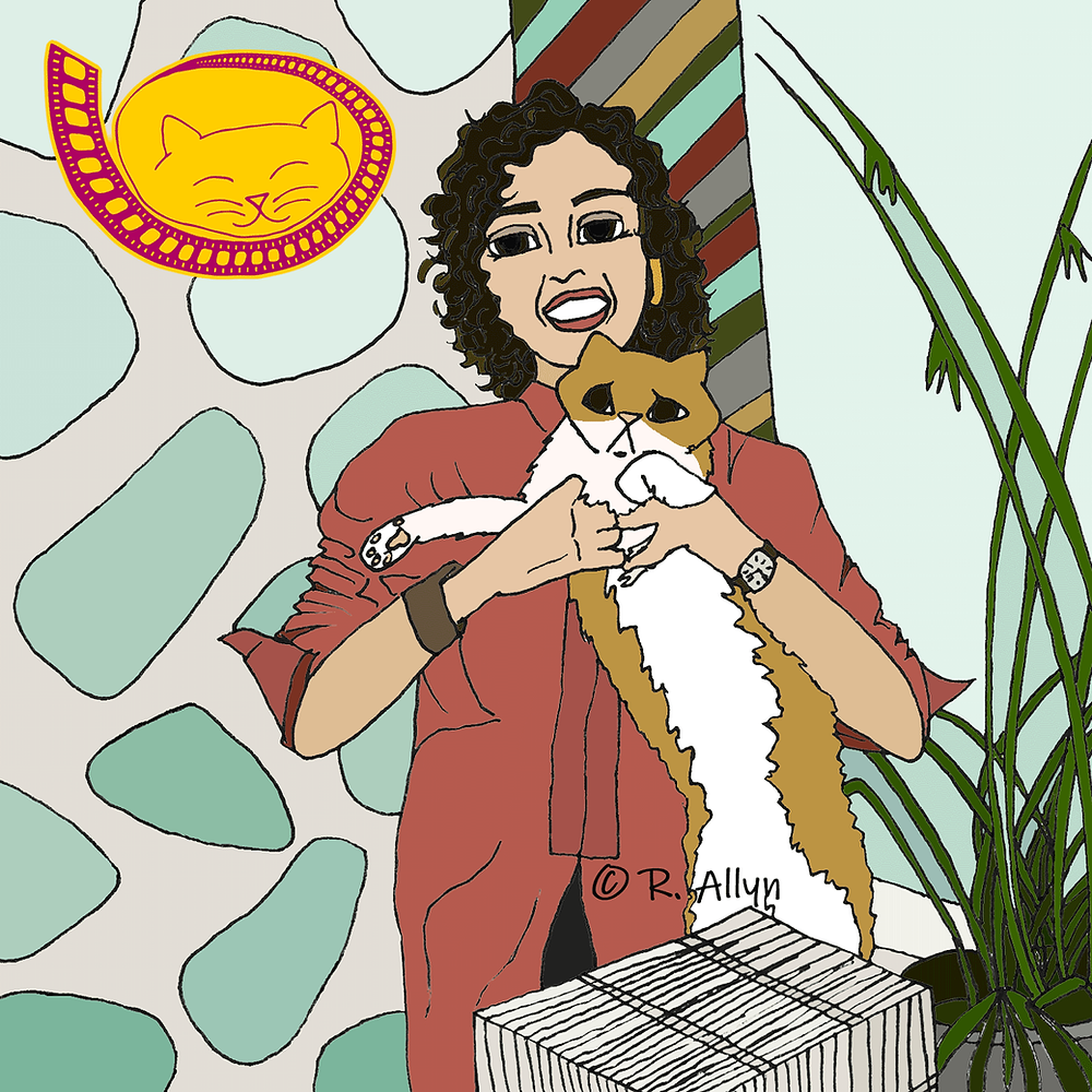 Illustration of Aunt Helena & Dog the cat from the movie DJ Cinderella