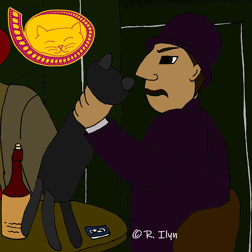 Illustration of The Rodent holding up a black plush cat in the movie Dick Tracy