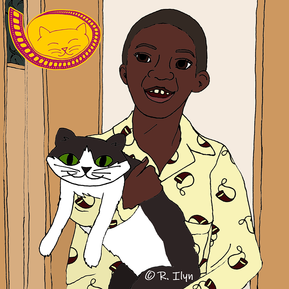 """Illustration of Billy holding a cat from the movie """"Heart & Souls"""""""