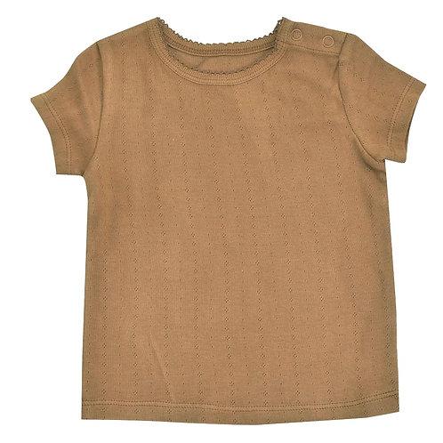 T-shirt Maglietta a manica corta in Cotone Organico - Pointelle Taupe - Pigeon