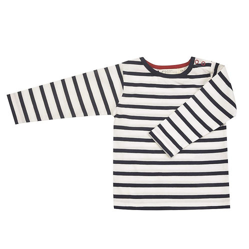 T- shirt Maglia a manica lunga in Cotone Organico - Righe Blu - Pigeon