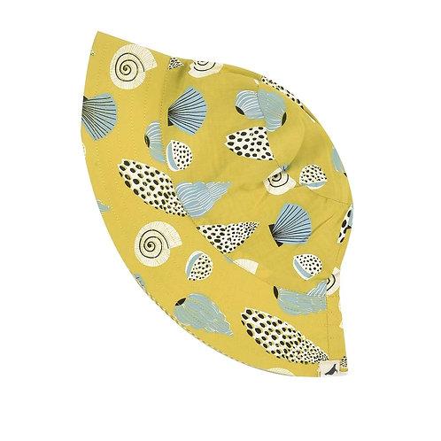 Cappello da sole double face in Cotone Organico - Conchiglie Giallo - Pigeon