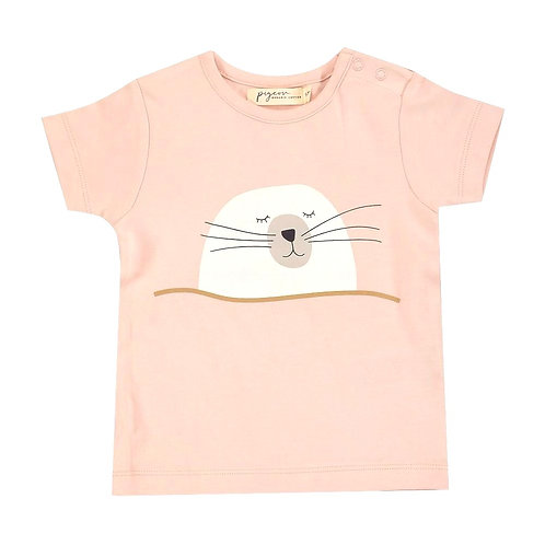 T-shirt Maglietta a manica corta in Cotone Organico - Foca - Pigeon