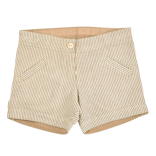 Shorts Pantaloncino Corto Cotone Organico Seersucker - Righe Taupe - Pigeon