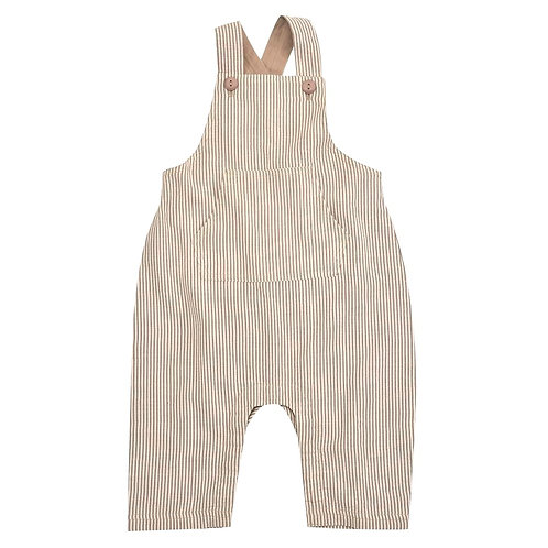Salopette Dungarees in Cotone Organico a righe taupe - Pigeon