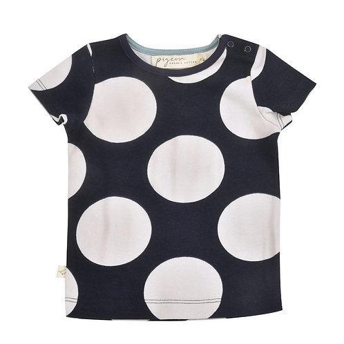 T-shirt Maglietta a manica corta in Cotone Organico - Bolle Grigio Blu - Pigeon