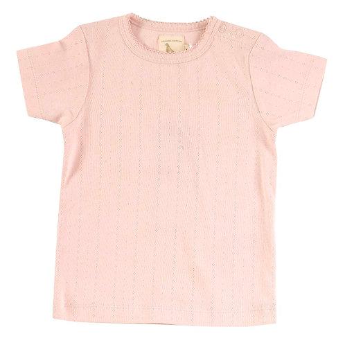 T-shirt Maglietta a manica corta in Cotone Organico - Pointelle Rosa - Pigeon