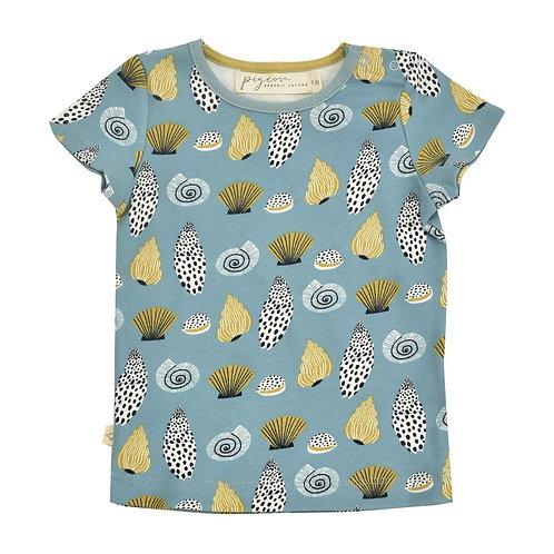 T-shirt Maglietta manica corta in Cotone Organico - Conchiglie Turchese - Pigeon