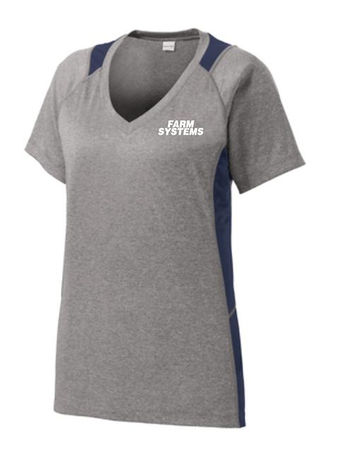 Sport-Tek® Ladies Heather Colorblock Contender™ V-Neck Tee • LST361
