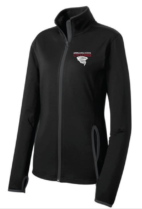 Sport-Tek® Ladies Sport-Wick® Stretch Contrast Full-Zip Jacket • LST853 • Blk/Ch