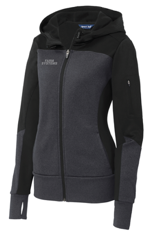 Sport-Tek® Ladies Tech Fleece Colorblock Full-Zip Hooded Jacket • LST245