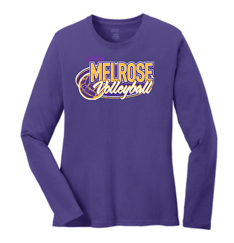 Port & Company® Ladies Long Sleeve Core Cotton Tee LPC54LS • purple