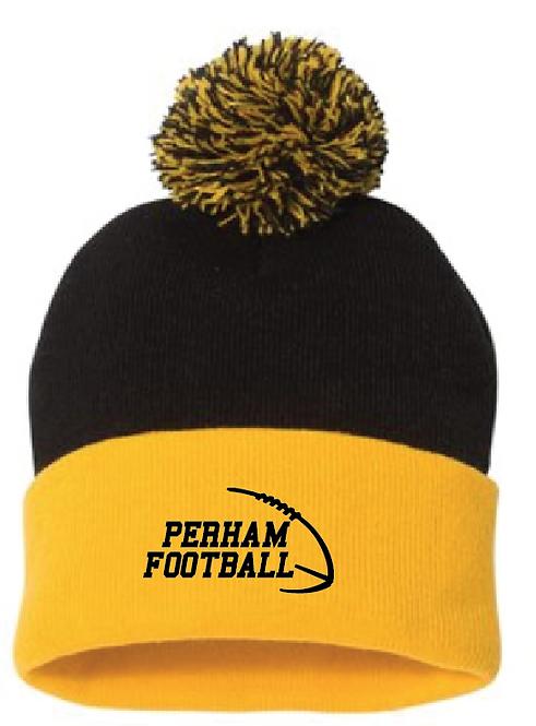 """Sportsman - Pom-Pom 12"""" Knit Beanie • SP15 • gold/black"""