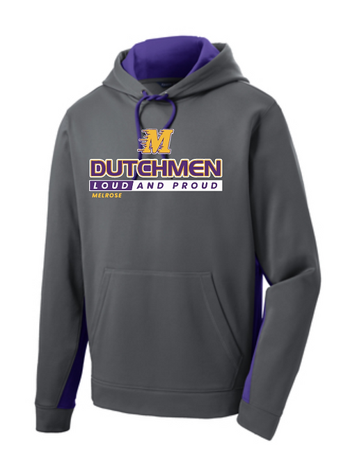 Sport-Tek® Sport-Wick® Fleece Colorblock Pullover • ST235 • dark smoke/purple