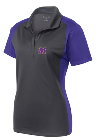 Sport-Tek® Ladies Colorblock Polo • LST652 • iron grey/purple