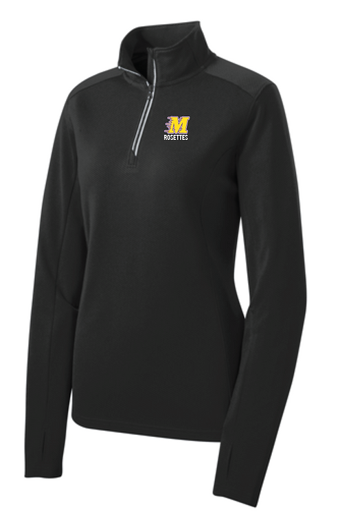 Sport-Tek® Ladies Sport-Wick® Textured 1/4-Zip Pullover • LST860 - black