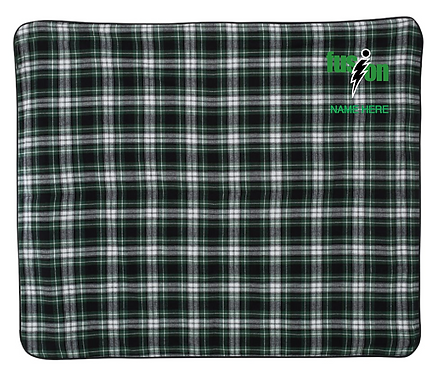 Boxercraft - Flannel Blanket - FB250 • green/white/black • WITH NAME