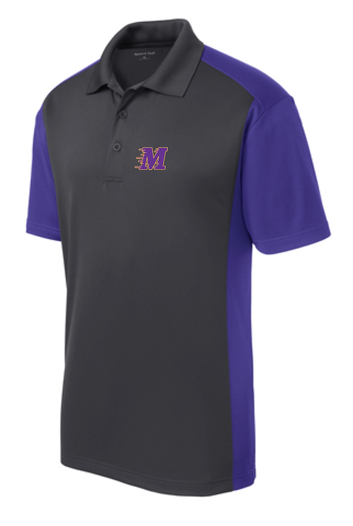 Sport-Tek® Side Blocked Micropique Sport-Wick® Polo • ST652 • iron grey/purple