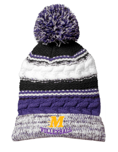 Sport-Tek® Pom Pom Team Beanie STC21 • purple/black/white