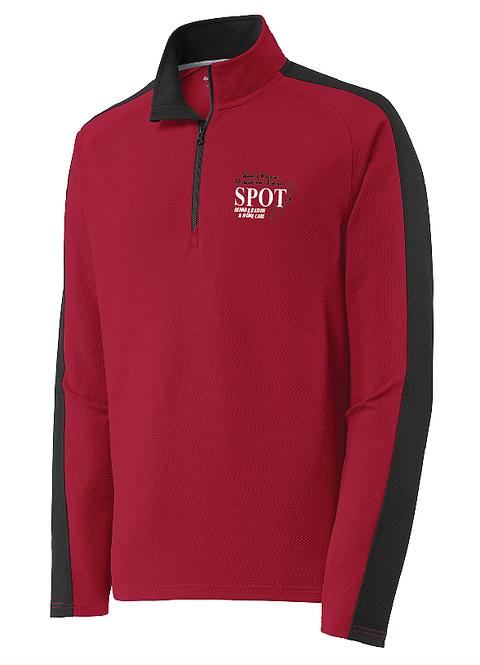 ST861 Sport-Tek® Sport-Wick® Textured Colorblock 1/4-Zip Pullover