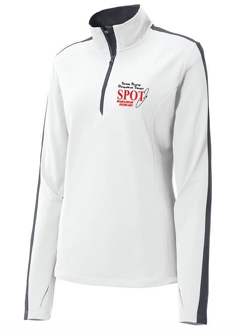LST861 Sport-Tek® Ladies Sport-Wick® Textured Colorblock 1/4-Zip Pullover
