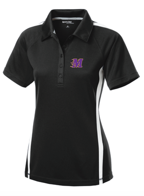 Sport-Tek® Ladies PosiCharge® Micro-Mesh Colorblock Polo • LST685 • black/white