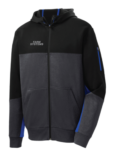 Sport-Tek® Tech Fleece Colorblock Full-Zip Hooded Jacket • ST245