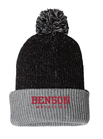 "BW Sportsman - 12"" Knit Speckled Pom-Pom Beanie - SP70 • black/grey"