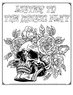 Skull Roses Logo coloring page 2 thumb.p