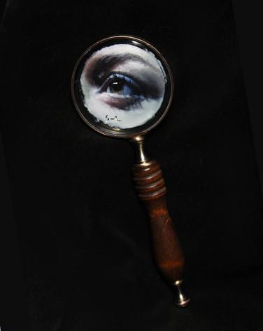 """Oil on magnifying glass, 3"""" diameter"""